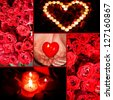 Valentine�¢??s day: heart, rose, candles. Love concept - stock photo