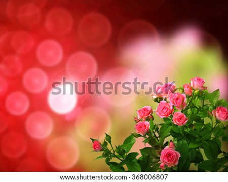 Valentine's gift-card with bouquet of pink roses on abstract elegance background with bokeh spots
