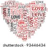Valentines day and love concept in word tag cloud on white background - stock