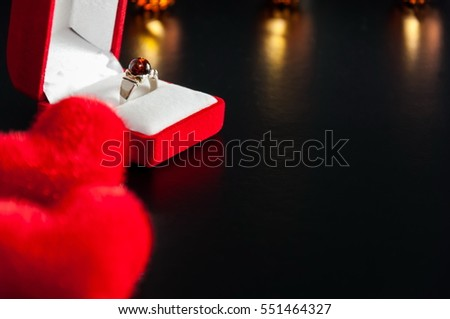 Valentines Day. Gift, two Red heart and Red velvet box with ring.