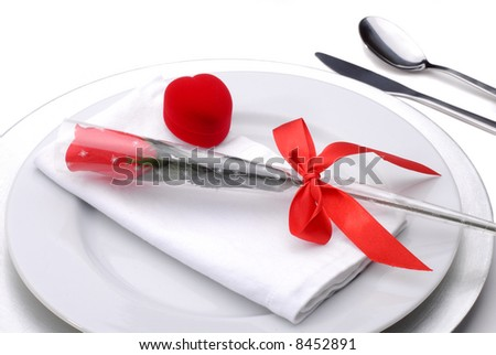 Valentines Day Table Setting Theme For A Romantic Dinner With A Red Rose