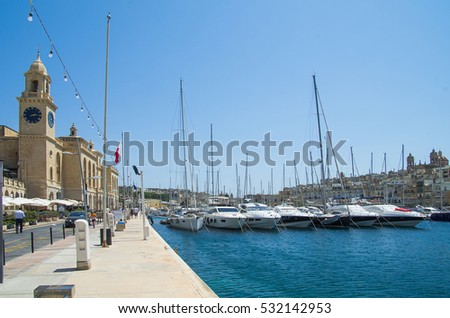Valletta, Malta. City views and yachts, located in the bay at anchor.July 2016.