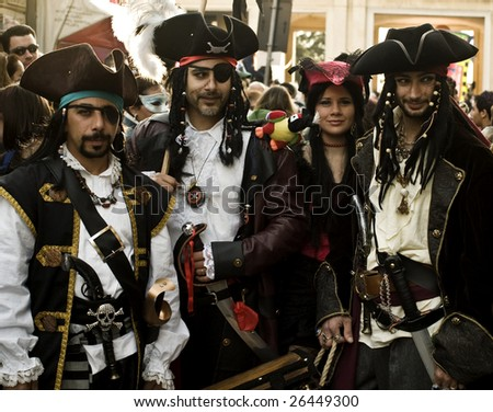 VALLETTA, MALTA - Feb 21st 2009 - Group of youths dressed up as a Pirate clan at the International Carnival of Malta 2009