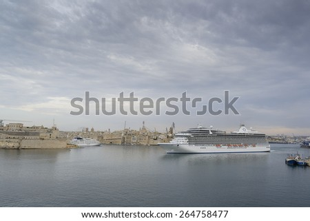 Valletta, MALTA - September 10, 2014: Stunning MS Riviera Cruise Ship leaves the port of Valletta. She has 1,250 passenger capacity with 66,084 gross tonnage.
