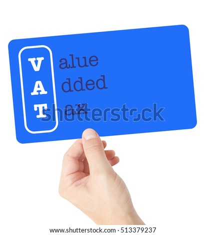 Value Added Tax explained on a card held by a hand