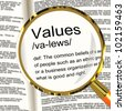 Values Definition Magnifier Shows Principles Virtue And Morality - stock photo