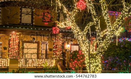 Vancouver Canada December 2016,Christmas house lights decorations,Vancouver BC Canada