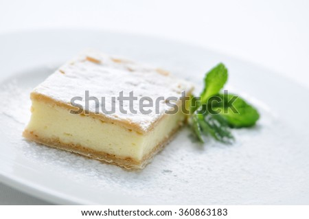 vanilla cream cake with sugar powder and mint leaf on white plate, sweet dessert or breakfast, patisserie, photography for shop