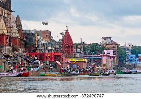 VARANASI, INDIA-01 OCT: View of Ganges river with the boats and city 01 Oct, 2013 in Varanasi. Varanasi is the spiritual capital of India.