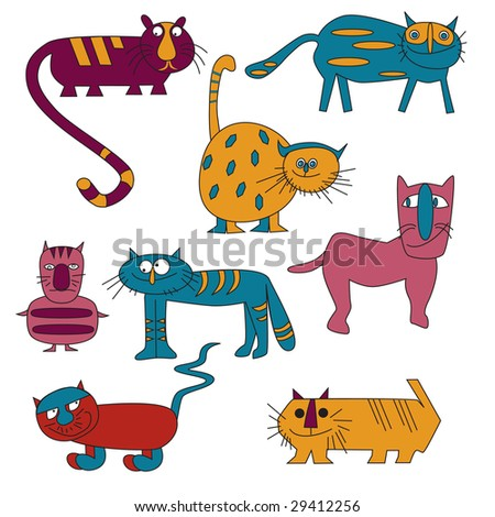 Varicolored varied cats on white background