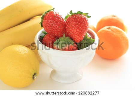 variety fruit on white background for healthy food eating image