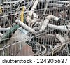 Variety of building debris behind a metal fence - stock photo