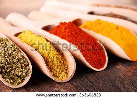 Variety of spices on kitchen table.