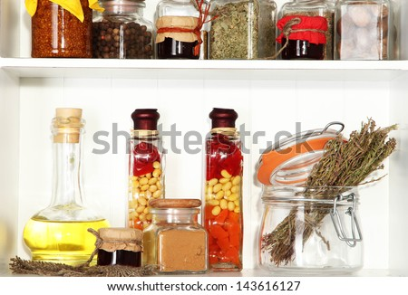 Variety spices on kitchen shelves close-up