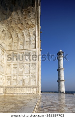 Various angles of TAJ MAHAL at sunrise in winter, Agra, India, Circa January 2016