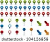 Various colored map markers, pins and pointers - stock photo