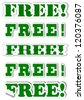 Various green lettering as free stickers - illustration - stock photo