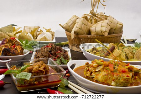 Various Indonesian Food Ketupat Beef Rendang Roasted Chicken Jack Fruit Curry