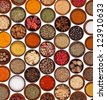 Various kinds of spices on white background - stock photo