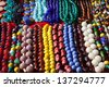 Various of different colorful necklace at Anjuna flea market in Goa, India - stock photo