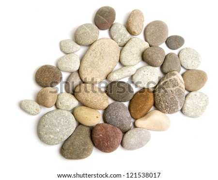 Various sea pebbles in the coastline