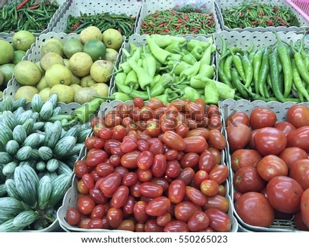 Various type of vegetable in the white basket in fresh food market, Healthy, Organic vegetable