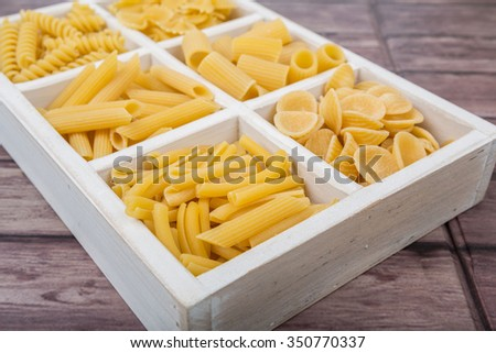 Various type pasta shapes and sizes in white box over wooden background