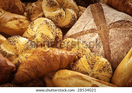 Various types of bread and pastry