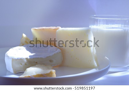 Various types of cheese composition. Fresh and tasty.