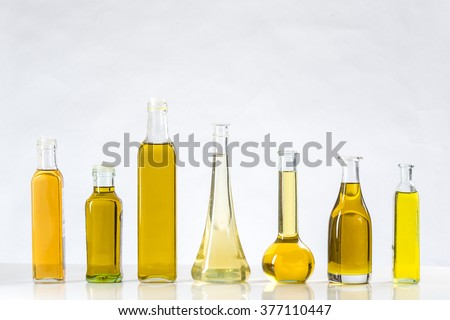 Various types of oil in bottles