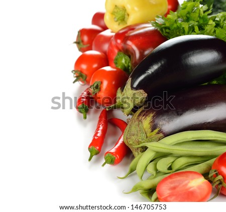 Various vegetables on a white background