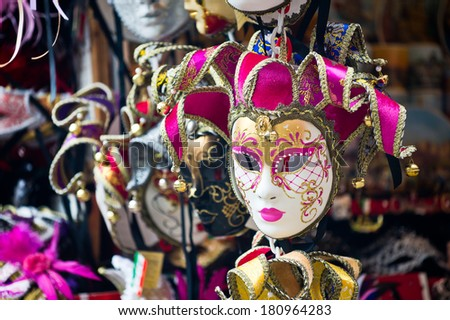 Various venetian masks on sale
