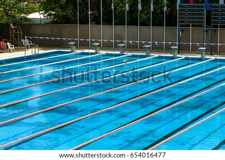 Olympic Swimming Pool 2017 swimming pool set water polo competition stock photo 6930535