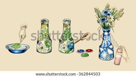 Vase decoration do-it-himself manual illustration