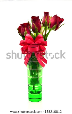 Vase of Rose  on white background