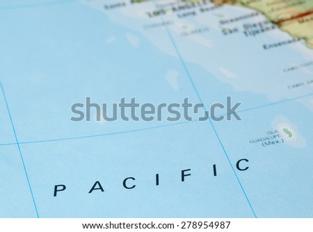 vast expanse of pacific ocean and american shoreline