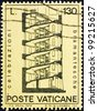 VATICAN - CIRCA 1972: A stamp printed in the Vatican shows Design for Spiral Staircase, by Bramante, circa 1972 - stock photo