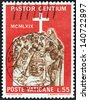 "VATICAN CITY - CIRCA 1969: A stamp printed in Vatican City from the ""Pope Paul's Visit to Uganda"" issue shows Pope with African bishops, circa 1969. - stock photo"