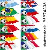 Vector banners of soccer ball and British, French, Russian, English, Dutch, German, Argentinean, Portuguese, Spanish, Brazilian, Cameroon, Italian flags on green grass. - stock photo