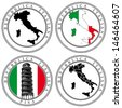 Vector set of postal stamp on theme of Italia, executed in Italian National color. No blends and gradients. - stock photo