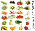 Vegetable collection on a white background - stock photo