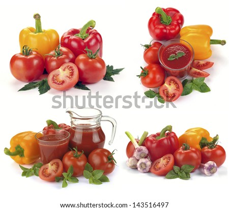 vegetable juice with ingredients (tomatoes, peppers, basil)