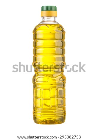 vegetable or sunflower oil in plastic bottle isolated with clipping path included