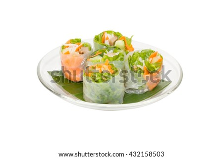 vegetable spring roll on dish isolated on white background