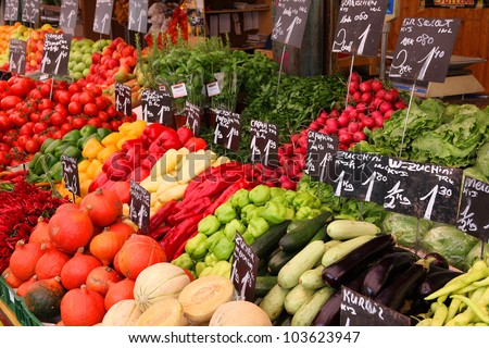 Vegetable stand at a marketplace in Vienna, Austria. Farmers market.