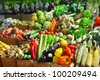 Vegetables at a market stall - stock photo