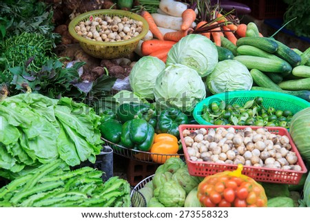 Vegetables in the market place in Ho Chi Minh City, Vietnam.