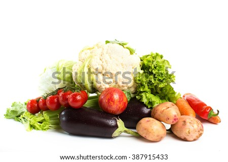 Vegetables isolated on a white background.