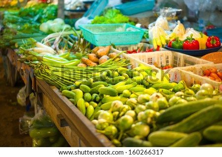 Vegetables on city market in asia