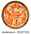 Vegetarian pizza on a wooden platter - stock photo